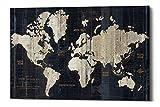 Epic Graffiti Old World Map Giclee Canvas Wall Art by Wild Apple Portfolio, 26' x 40', Blue