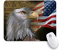 VAMIX マウスパッド 個性的 おしゃれ 柔軟 かわいい ゴム製裏面 ゲーミングマウスパッド PC ノートパソコン オフィス用 デスクマット 滑り止め 耐久性が良い おもしろいパターン (白頭ワシアメリカの国旗アメリカの愛国心が強い星とストライプフラグの独立)