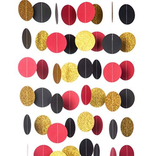 MOWO Glitter Paper Garland Circle Dots Hanging Decor,2.5'' in Diameter,10-feet(Gold Glitter/red/Black,2pc)