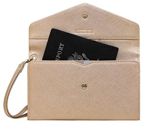 Krosslon Rfid Passport Holder Wristlet Travel Wallet Documents Organizer Purse for Women, Rose Gold(215#)