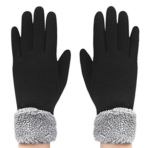 Gants Femmes Dames en Velours Automne Hiver Moufles de plein air Chaud Gants Moto/Vélo Epais Doigts Complets Ecran Tactile pour Téléphone/Iphone/Samsung/Tablette/Ipad/Autres Smartphone-Noir