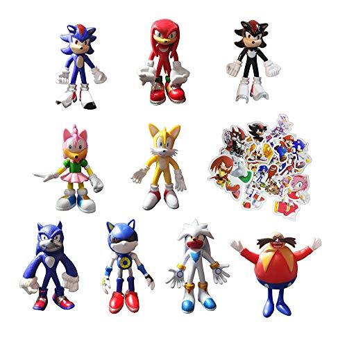 Figura de Sonic Juguetes 9 unids/set Enviar 100 Sonic Pegatinas el erizo Figura de acción nueva llegada Sonic juguete coleccionable