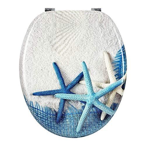 Asiento de inodoro universal de MDF de madera de alta calidad, tapa para inodoro con bisagras de metal y muchos diseños de colores para el baño, Trendy Line (estrellas azul)