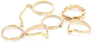Niome 1 Set 6 pcs Girls Modern Casual Finger Tip Midi Rings Golden