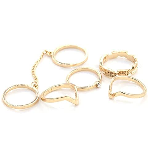 6cd649ddaf PrimaryKey Women Stylish Crystal Leaves V Shaped Above Knuckle Stacking  Band Midi Rings (6pcs a