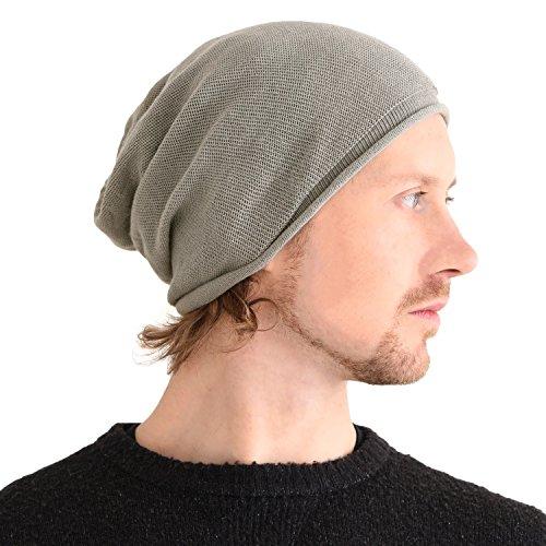 Casualbox 100% Soie Bonnet Naturel Chimio Chapeau Sensible Peau Grand Bonnet Tombant Tricoté Gris