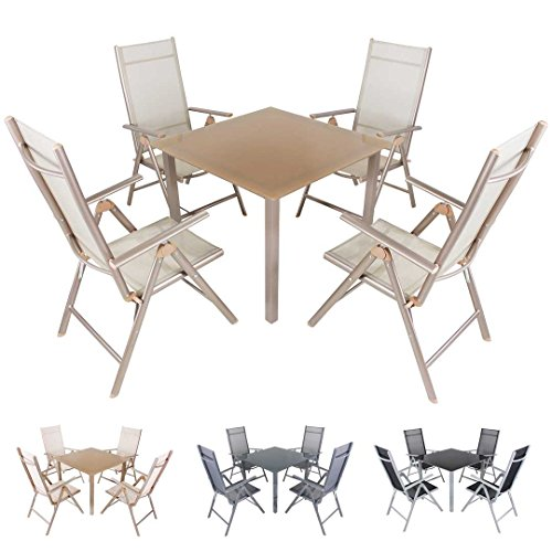 Miweba Moreno 4+1 Aluminium Sitzgarnitur 90x90 Alu Gartenmöbel 4 Stühle Sitzgruppe Tisch Gartenset Gartengarnitur Ausführungen (Farbe: Champagner Hell - Ausführung: Deluxe)
