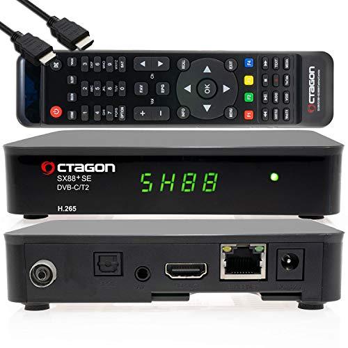 OCTAGON SX88+ SE H.265 HD Mini Hybrid-Receiver C/T2+ Smart IPTV Box schwarz – DVB-C/DVBT 2, USB-Recorder, Media-Player, LAN, gratis HDMI-Kabel, 12V für Camping, IR-Empfänger