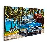 Bild auf Leinwand Amerikanisch blauer Chevrolet Oldtimer