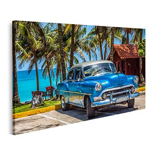 Bild auf Leinwand Amerikanisch Blauer Chevrolet Oldtimer mit silbernem Dach am Strand in Varadero geparkt Kuba Serie Cuba Reportage Bilder Wandbild Poster Leinwandbild