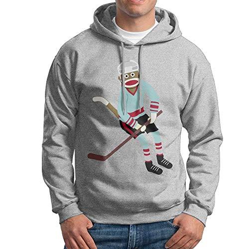 YaoJun-Hoodie Homme Sock Monkey Hockey Player Cross-Country Classic Casual Hoodie Hooded Sweatshirt Ash