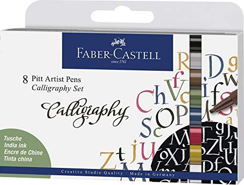 Faber-Castell 167508Tusche lápiz Pitt Artist Pen Calligraphy Set, 2,5mm, 8Funda