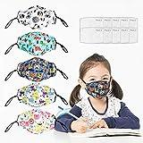 5Pcs Kids Reusable Washable Facial Cotton Covering Breathable Seamless Cute Print Cotton Children-Includes 10Pcs Filters