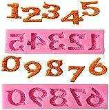 Silicona Número 0-9 Moldes de chocolate para fondant en relieve 3D para decoración de pasteles de cumpleaños para hornear, color rosa