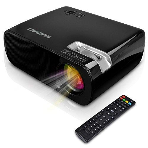 Beamer Kuman H2 HD1080P Tragbare HD-Projektor 2600 Lumen 800 * 480 Auflösung mit HDMI-Kabel 2 HDMI 2 USB VGA TV / DTV YPbPr-Eingang für Heimkino Cinema (Hwarz)