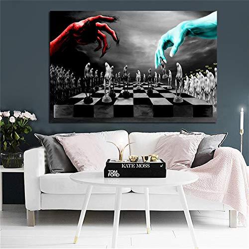 wZUN Afiches e Impresiones sobre Lienzo de ajedrez del Bien y del Mal. Mural nórdico escandinavo en Blanco y Negro para decoración de Habitaciones Infantiles 50x70cm