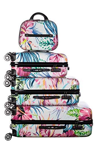 Birendy Reisekoffer Polycarbonat Hartschalen Hardcase Trolley mit Zahlenschloss Koffer Kofferset 4 Rollen einfacher Transport (A4-Blumen bunt, Set M+L+XL+XXL)