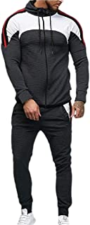 Mens Color Block 2-Piece Sets Sport Tracksuit Zipper Sweatshirt Coat + Pant