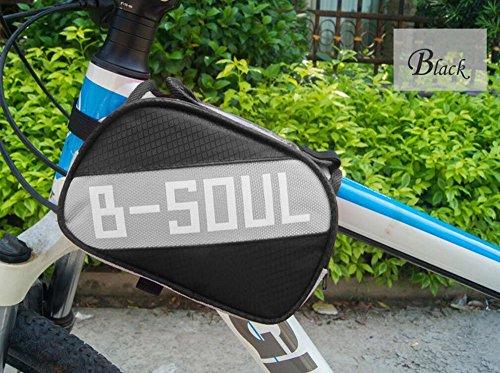 YAJAN-Bikebag Fahrradtasche Mountainbike Vorne Sitzsack Schlauchbeutel Reittasche Fahrradschlauch Tasche Handytasche (4,8 Zoll),Black