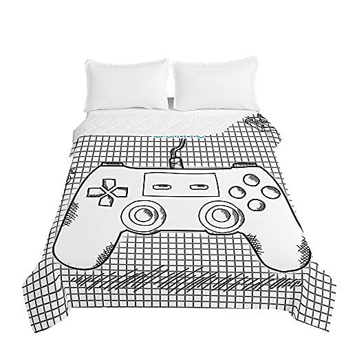 Surwin Tagesdecke Bettüberwurf Steppdecke für Doppelbett Einzelbett, Mikrofaser Wattiert Gesteppt Bettdecke 3D Gamepad Druck Dünne Tagesdecken mit Ultraschall Prägung (Weiße Skizze,150x200cm)