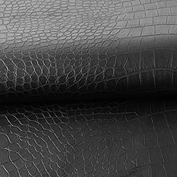 Synthetic Leather Fabric Crocodile Pattern Vinyl Material Faux Leather Sheets 0.5mm Thick for Upholstery Black - 36 ×54