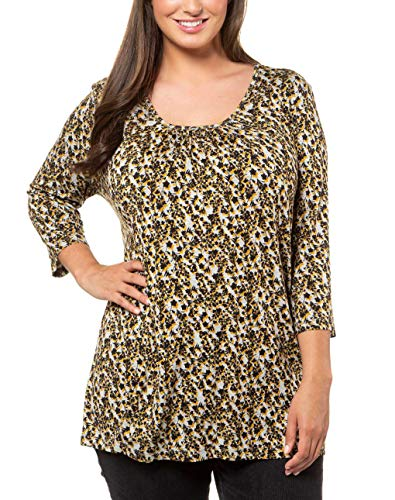 ULLA POPKEN Shirt mit Blumenprint, A-Line Maglia a Maniche Lunghe, Grigio (Anthrazit 12), 60 (Taglia Produttore: 54+) Donna