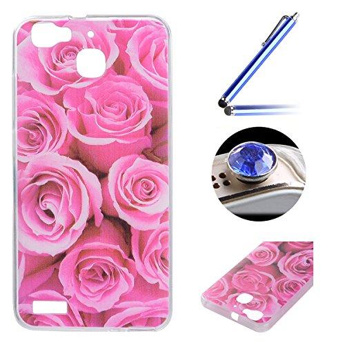 Huawei Enjoy 5S TPU Coque étui,Huawei Enjoy 5S Ultra-minces Silicone Doux Housse,Etsue Joli élégant Roses Pétale Peint Motif Design Souple Gel avec Transparent Cadre de Housse Coque Coquille pour Huawei Enjoy 5S + 1x Bleu style + 1x Bling poussière plug (couleurs aléatoires) - Roses Pétale