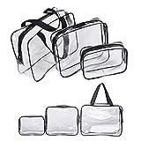 Bolsas de Aseo Transparente,3-in-1 Bolsas Portátil de Maquillaje de PVC Neceser Transparente...