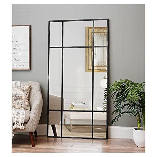 DIREKTE IMPORT Standspiegel mit Schwarz Antik Metallrahmen 220x110 | Groß Ganzkörperspiegel Designed in Dänemark für Wohnzimmer, Schlafzimmer oder Ankleidezimmer