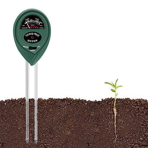BEOK Soil pH Meter, 3-in-1 Soil Moisture/Light/pH Tester Gardening Tool Kits for Plant Care, Great for Garden, Lawn, Farm, Indoor & Outdoor Use (Double Sensors Design)