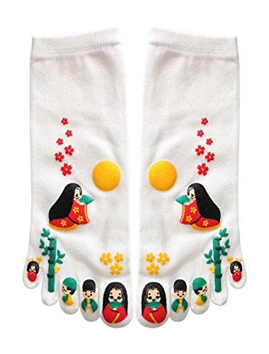 sourcingmap® 2 Paar Damen Japanesisch Cartoon Druck Zehe Socken Weiß