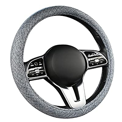 Steering Wheel Cover-15 inch Breathable Anti-Slip Linen Auto Steering Wheel Protector Accessories Universal Fit for Sedan,SUV,Truck,Minivans,Car Accessoires