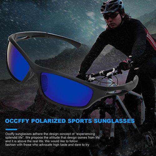 Occffy Polarisierte Sportbrille Sonnenbrille Fahrradbrille mit UV400 Schutz für Herren Autofahren Laufen Radfahren Angeln Golf TR90 (599 Schwarze Matte Rahmen mit Blaue Linse) - 2