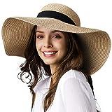 Womens Sun Straw Hat Wide Brim UPF 50 Summer Hat Foldable Roll up Floppy Beach Hats for Women…