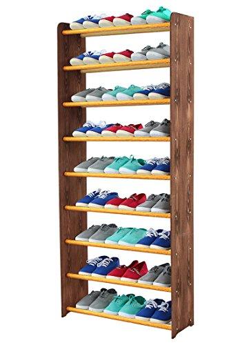 Schuhregal Schuhschrank Schuhe Schuhständer RBS-9-65 (Seiten dunkelbraun, Stangen in der Farbe erle)