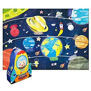 Kids Puzzles Ages 4-8, 24 Piece Solar System Puzzles for Kids Ages 4-8, Planet Learning Space Puzzles for Kids Ages 3-5 for Boys and Girls, Fancy Toddler Puzzles with Rocket Storage Box