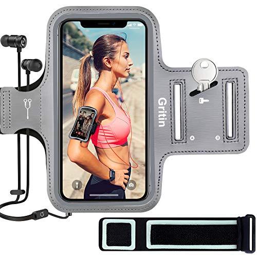 Gritin Fascia da Braccio, Sweatproof Porta Cellulare Braccio Sportiva per iPhone SE(2020) 11 11 Pro XR XS X 8 7, Galaxy S10 S9-con Slot per Cuffie Banda Riflettente, per 4.7-6.1