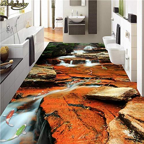 Aangepaste fotobehang vloer schilderij waterval karpers springen Dragon Gate 3D vloer wallpaper Home decoratie 200 x 140 cm.