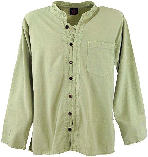 GURU SHOP Freizeithemd, Yoga Hemd, Hippie, Goa Hemd, Herren, Schilf, Baumwolle, Size:M, Hemden Alternative Bekleidung