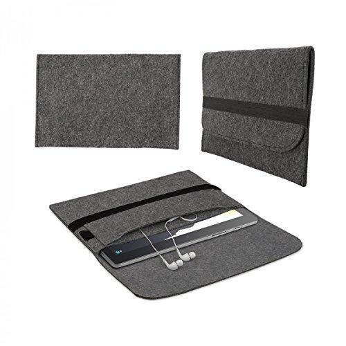 eFabrik Filz Tasche für Lenovo Tab3 10 Plus Hülle Sleeve Schutz, Farbe:Dunkelgrau