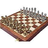 Ajedrez de lujo de metal | Juego de ajedrez plegable | Piezas de aleación y tablero de ajedrez de madera de nogal | Juego de ajedrez Gambito de la reina | Juego de tablero de ajedrez para niños y ad