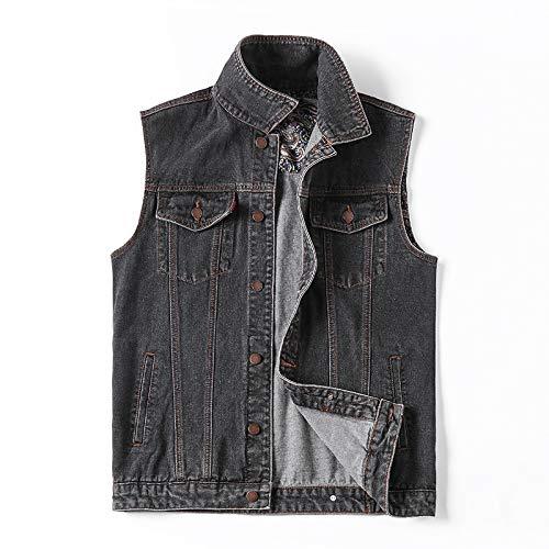 BLFGNCOB - Chaleco de mezclilla casual para hombre, sin mangas, estilo vintage, para motocicleta, vaquero, Outwear
