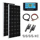 XINPUGUANG 200w Kit de panel solar 2pcs 100W 18V Módulo solar fotovoltaico monocristalino 20A Cable controlador para autocaravana Coche Caravana Inicio 12v Carga de batería