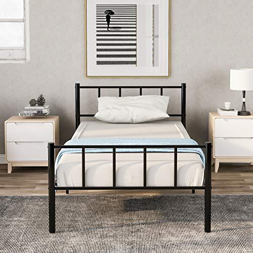 SIYANO Struttura per letto singolo in metallo massiccio, per letto singolo, adatta per materassi da 90 x 190 cm, per adulti, bambini e bambini, con testiera e pediera vintage, colore nero