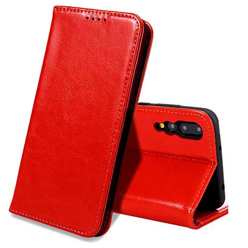 EATCYE Huawei P20 Pro Handyhülle,Huawei P20 Pro Hülle, [Echt Leder] Handyhülle Brieftasche flip Lederhülle Schutzhülle [Versteckt Magnet] Hülle für Huawei P20 Pro (Rot)