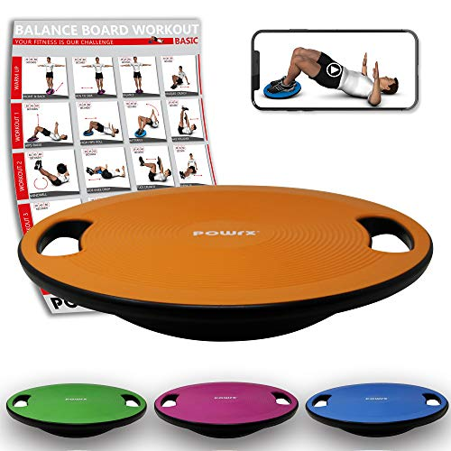 POWRX Balance Board inkl. Workout I Wackelbrett Ø 40cm mit Griffen I Therapiekreisel für propriozeptives Training und Physiotherapie Orange