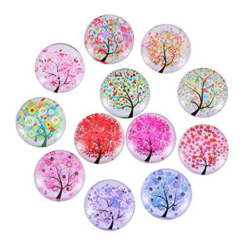 Mobestech 12 imanes con diseño de árbol de la vida para frigorífico, de cristal, autoadhesivos, para decoración de oficina, pizarra, lavaplatos, etc.