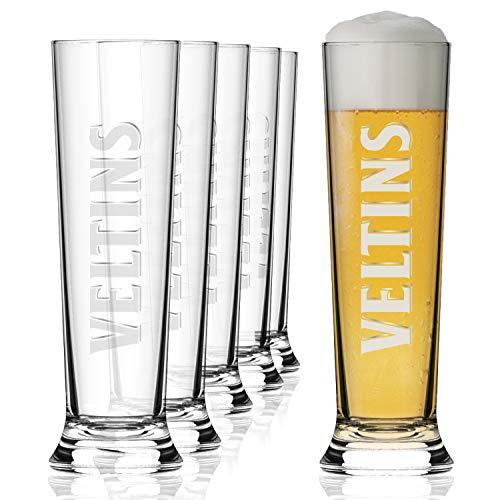 VELTINS Biergläser 0,3 Liter Gläser | 6er Bierglas Set | Original VELTINS Markenbierglas | VELTINS Gläser als tolle Bier Geschenke für Männer