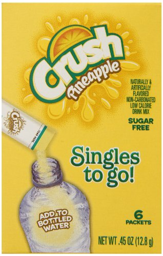 Crush Singles To Go Powder Packets, Water Drink Mix, Pineapple, Non-Carbonated, Sugar Free Sticks (12 Boxes with 6 Packets Each - 72 Total Servings)