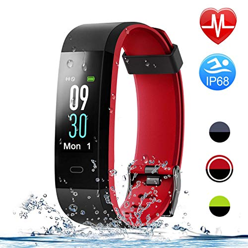 HolyHigh Smart Bands,Fitness Watch IPX68 Waterproof Colorful Screen Heart Rate Sleep Monitor Pedometers Calorie Counter Call Messages Alarm Reminder Reject Call for Men Women Boys Kids (Red+Black)